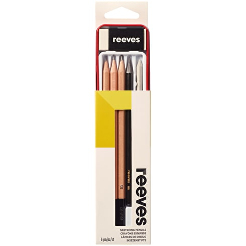 Reeves Sketch Pencils Tin Assorted Colours Set of 6